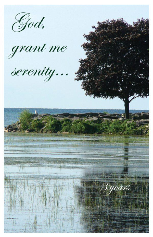 3 years card - God, grant me serenity