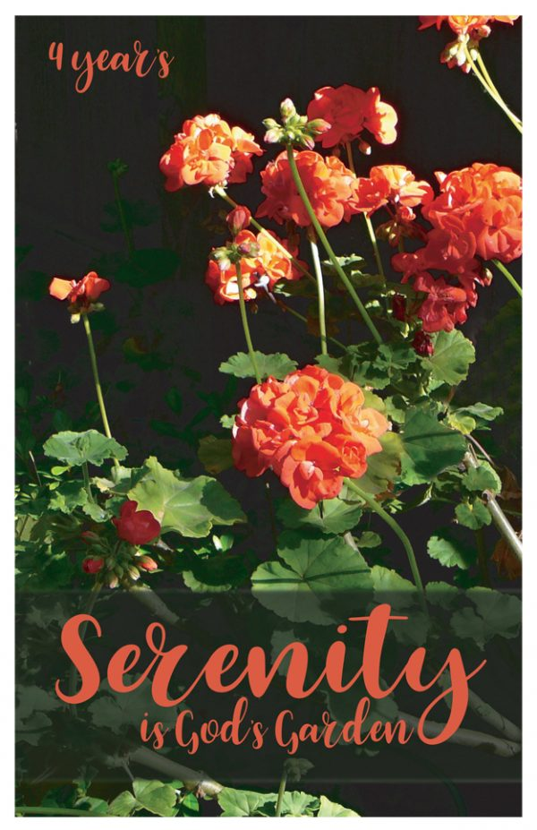 4 years card - Serenity is Gods Garden